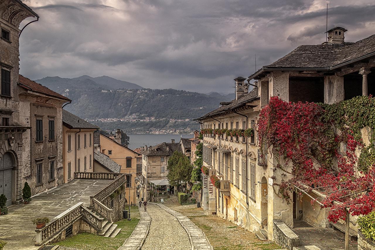 Фотография Италия Orta San Giulio улиц Города Здания Улица улице Дома город