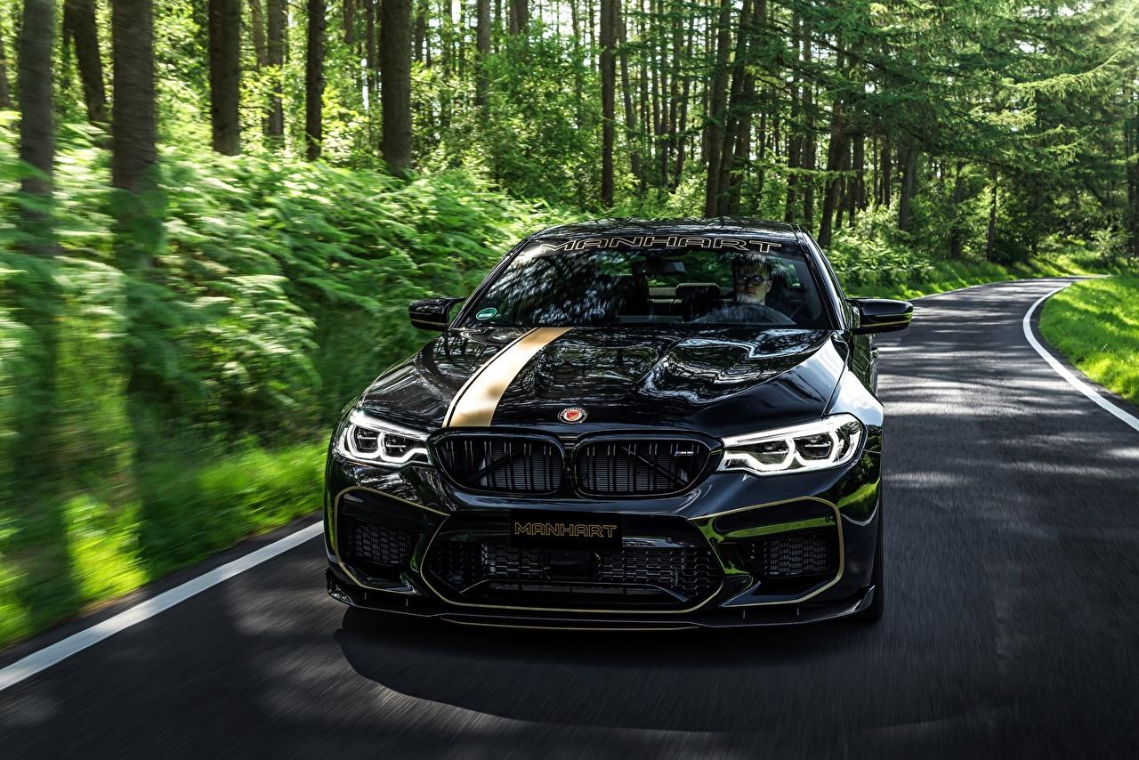 Фото БМВ 2018 Biturbo Manhart M5 V8 F90 MH5 700 черные машина Спереди Металлик BMW черных Черный черная авто машины автомобиль Автомобили