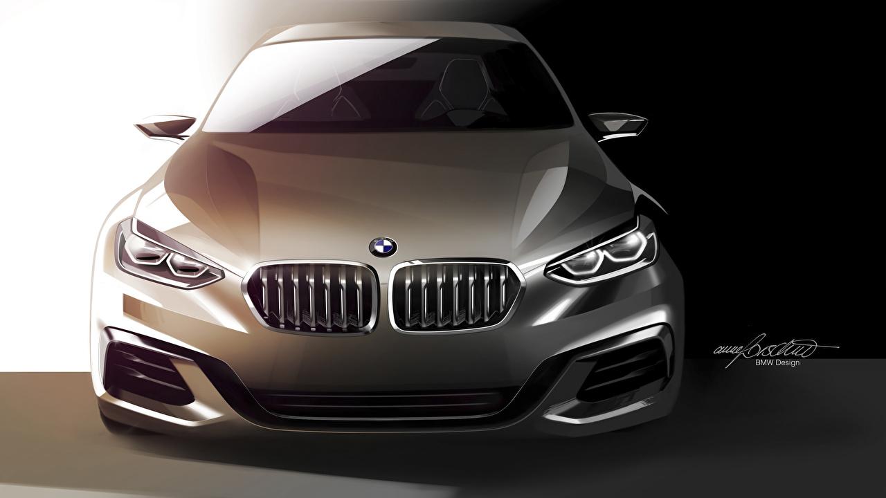 Обои для рабочего стола BMW Concept, 1-Series Седан машина Спереди Векторная графика БМВ авто машины Автомобили автомобиль