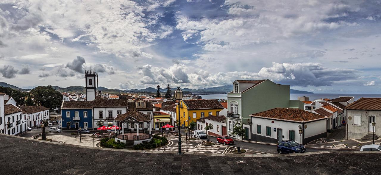 Фотографии Португалия городской площади Ribeira Grande Sao Miguel Azores Улица Уличные фонари Дома Города Городская площадь улиц улице город Здания