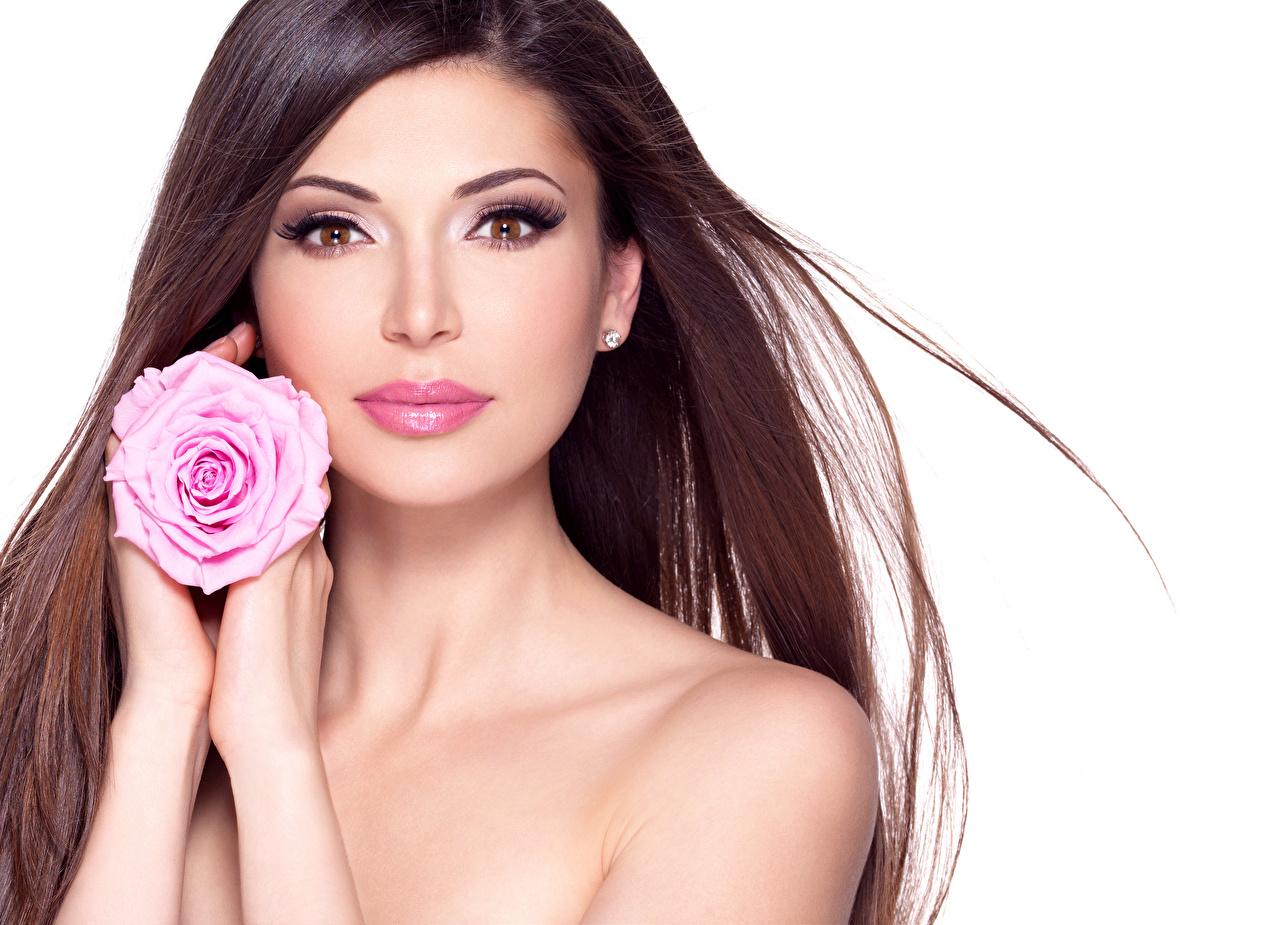 Фотография шатенки Красивые Розы лица волос девушка рука Белый фон Шатенка красивый красивая Лицо Волосы Девушки молодые женщины молодая женщина Руки белом фоне белым фоном