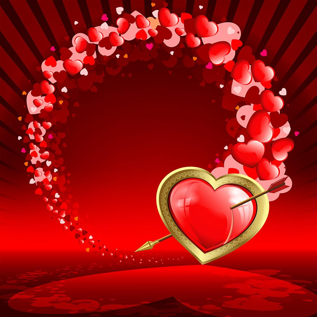 Обои День святого Валентина сердечко Стрела Красный День всех влюблённых Сердце