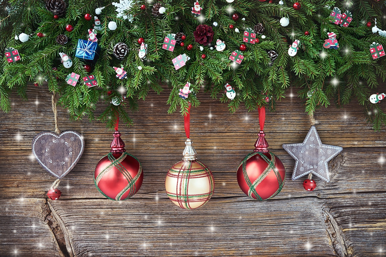 Обои для рабочего стола Рождество Звездочки серце Ветки Шарики Новый год Сердце сердца сердечко Шар ветвь ветка на ветке