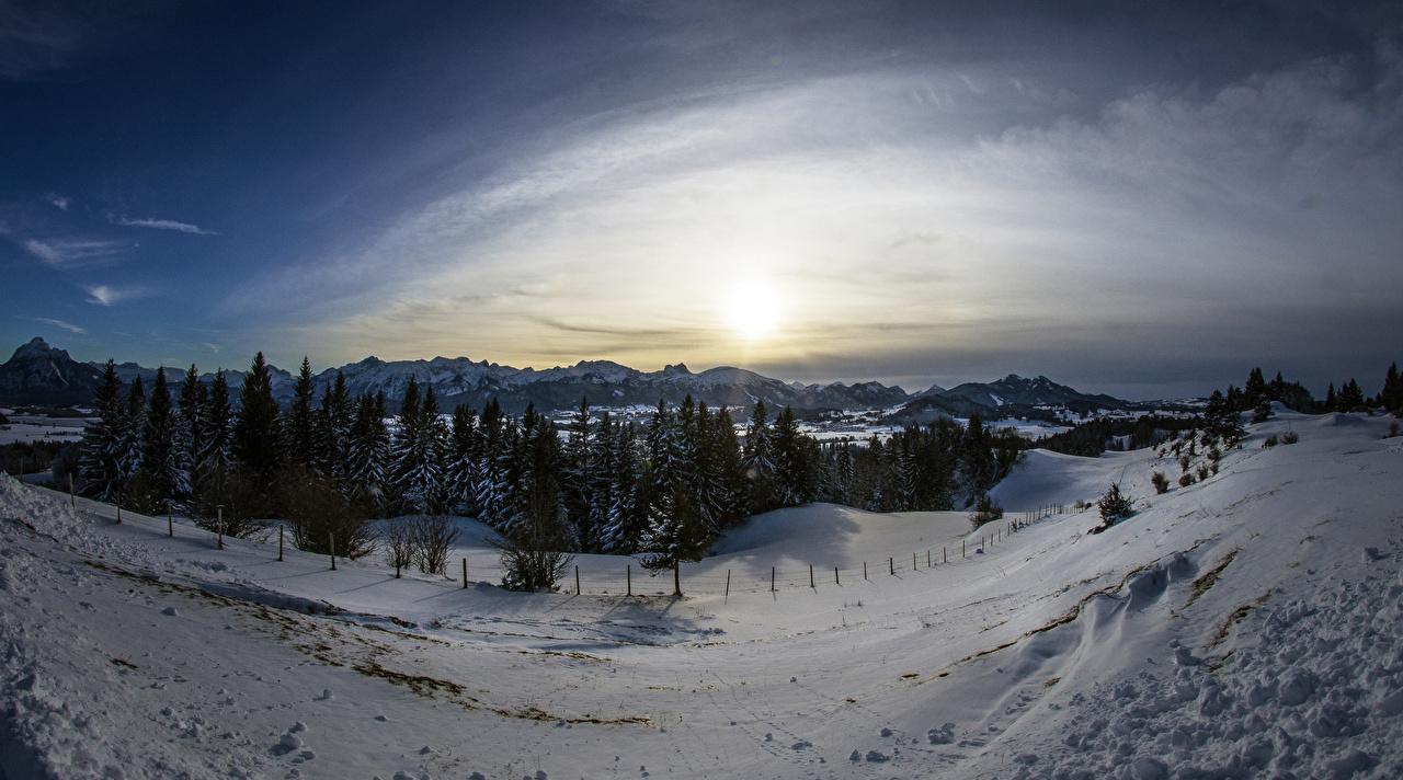 Фото Бавария Германия Goimenen Ель гора зимние Природа Снег Рассветы и закаты ели Горы Зима снеге снегу снега рассвет и закат