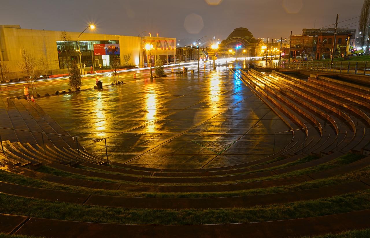 Обои для рабочего стола Вашингтон америка городской площади Tollefson Plaza Tacoma Лестница Ночные Уличные фонари Дома город США штаты Городская площадь лестницы Ночь ночью в ночи Города Здания