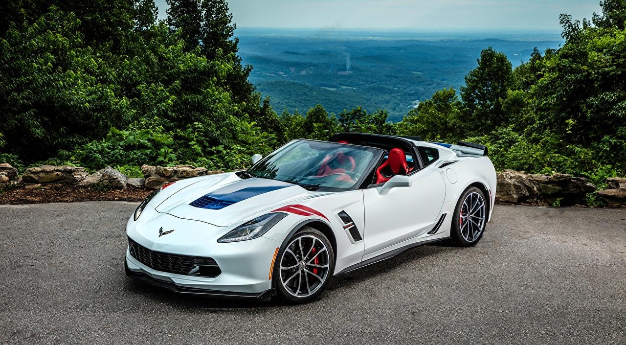 Фотография Chevrolet C7 Corvette, Grand Sport, 2016 Родстер Белый авто Шевроле белая белые белых машина машины Автомобили автомобиль