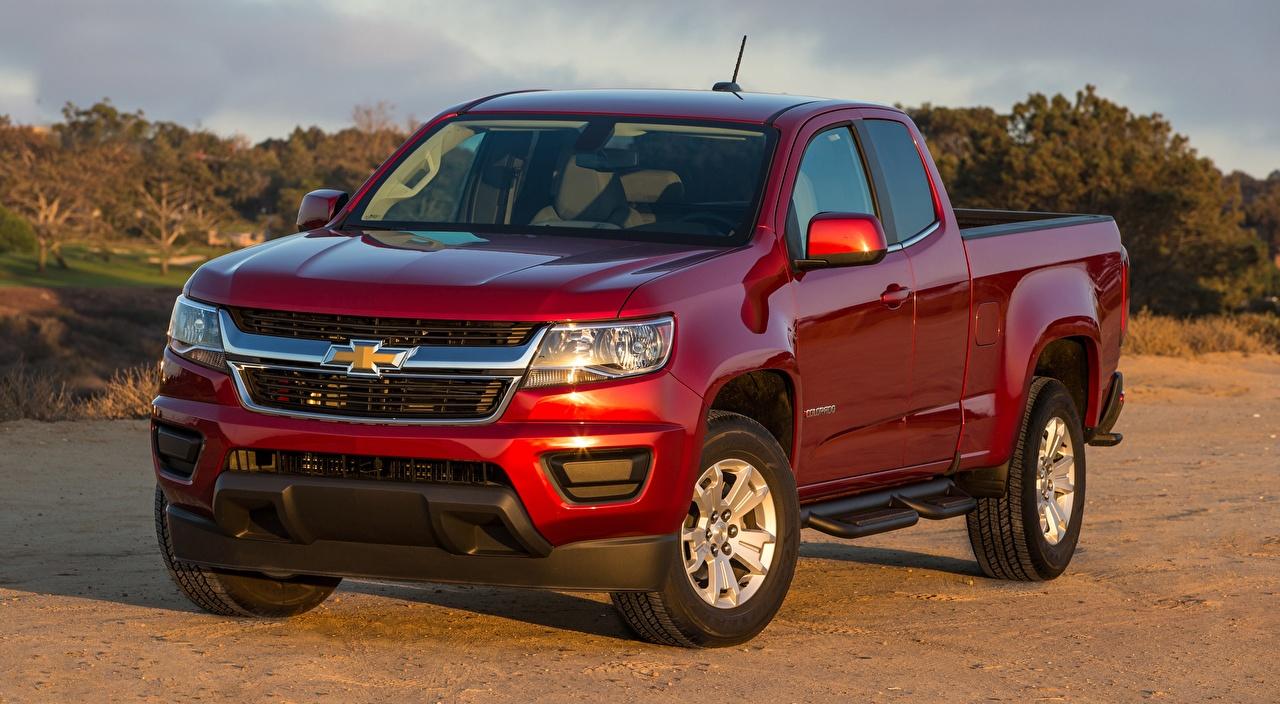 Обои для рабочего стола Chevrolet Colorado, LT Extended Cab, 2014 Пикап кузов красные автомобиль Шевроле красная Красный красных авто машины машина Автомобили