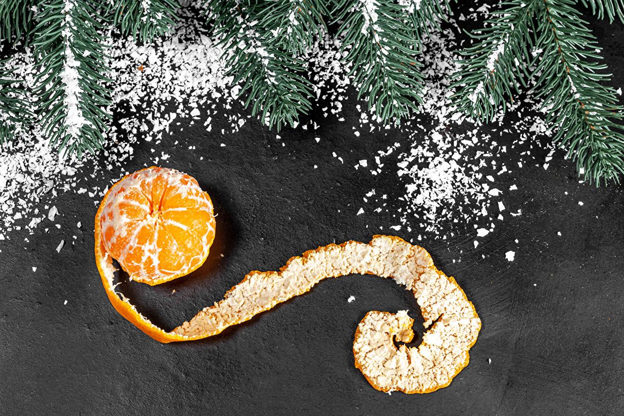 Картинка Рождество Мандарины Пища ветка Новый год Еда ветвь Ветки на ветке Продукты питания