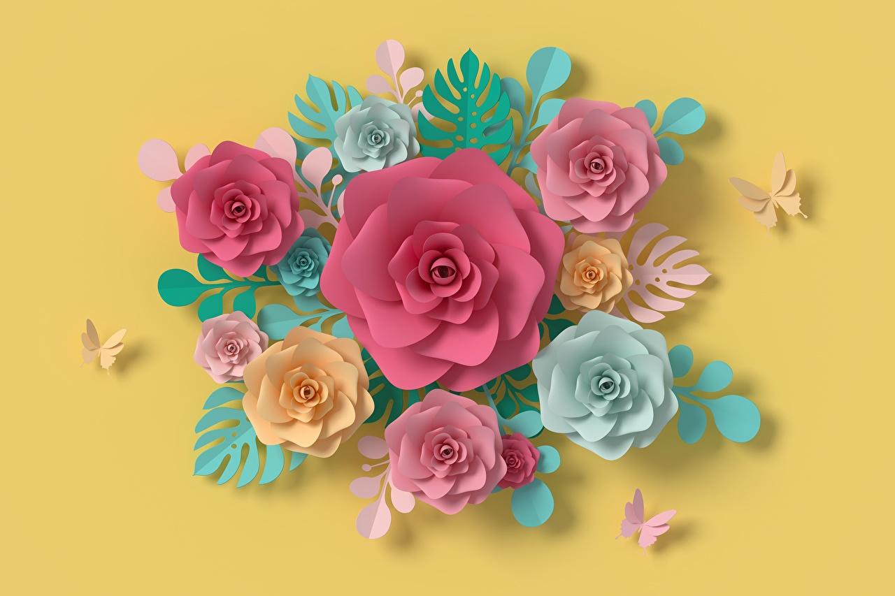 Фото бумаге 3д Розы Цветы Дизайн Цветной фон бумаги Бумага роза 3D Графика цветок дизайна