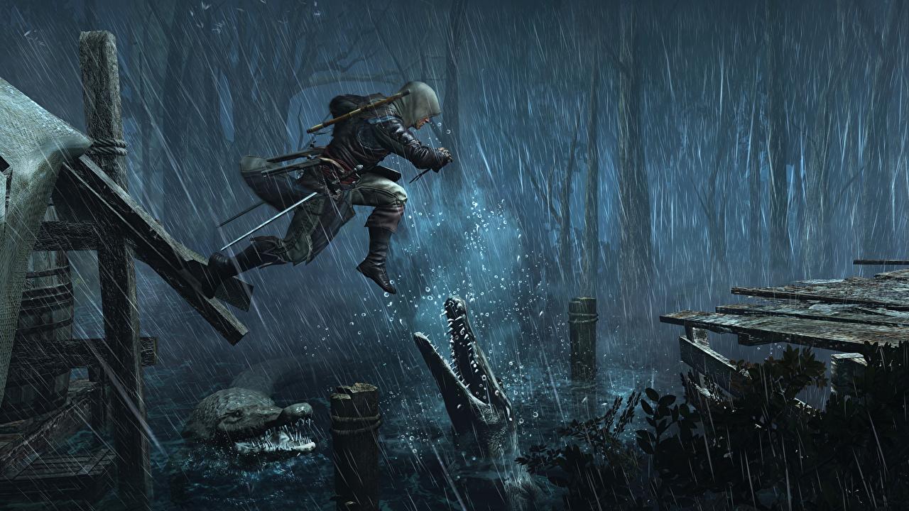 Фотография Assassin's Creed Assassin's Creed 4 Black Flag Крокодилы мужчина Игры Дождь Прыжок Капюшон крокодил Мужчины прыгает прыгать в прыжке компьютерная игра капюшоне капюшоном