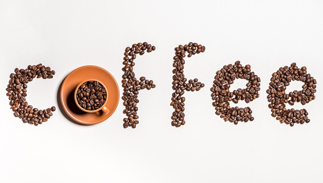 Обои для рабочего стола Кофе Зерна Пища Чашка сером фоне зерно Еда чашке Продукты питания Серый фон