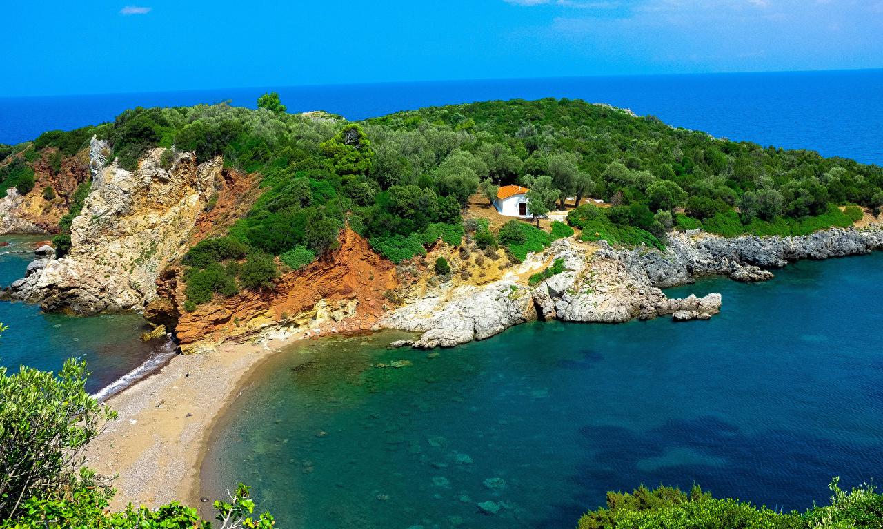 Обои для рабочего стола Греция Agios Vasileios Evia Природа заливы Побережье берег Залив залива