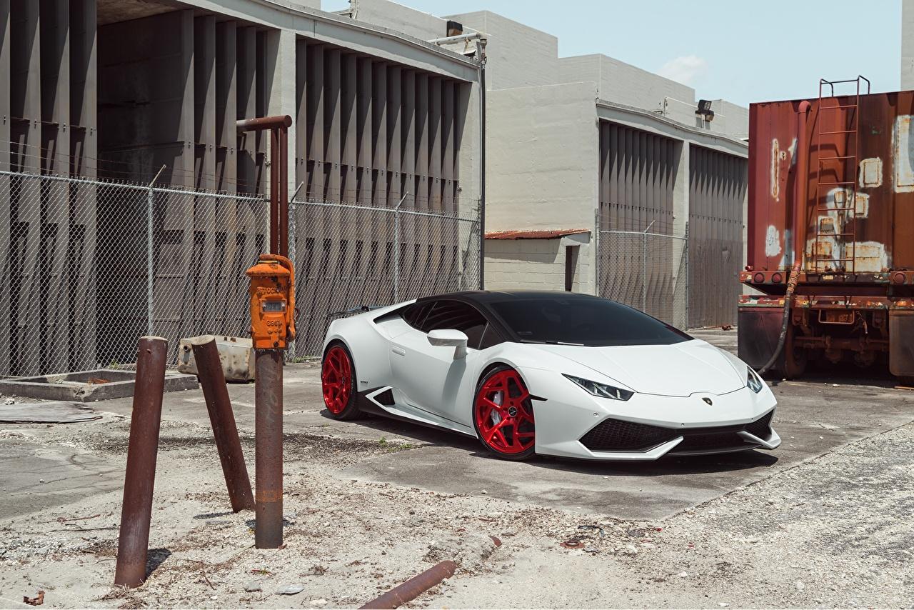 Обои для рабочего стола Lamborghini Huracan LP610-4 Vellano MC белых машины Ламборгини Белый белые белая авто машина автомобиль Автомобили