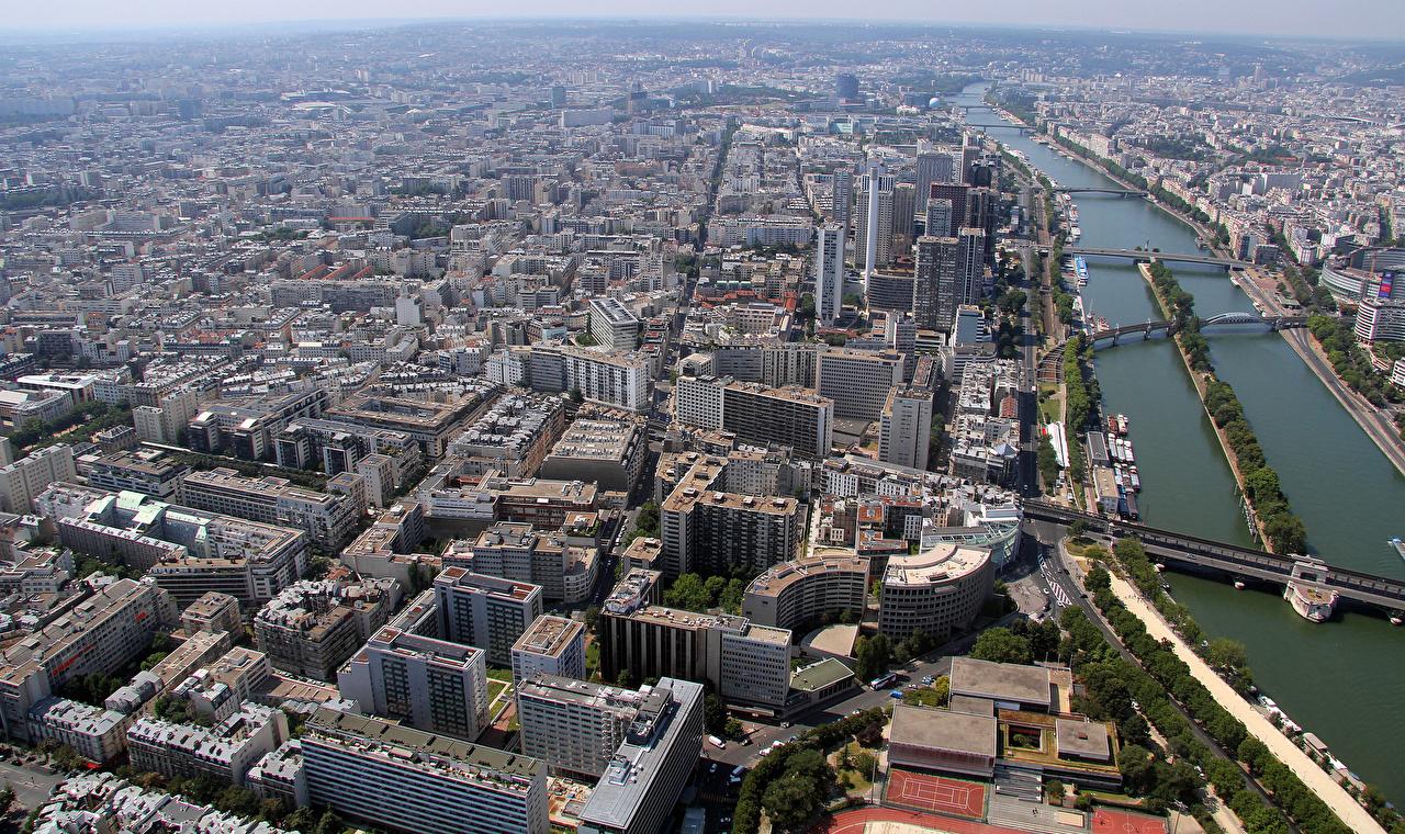 Фотографии париже Франция Montparnasse мост река Сверху Дома город Париж Мосты Реки речка Города Здания