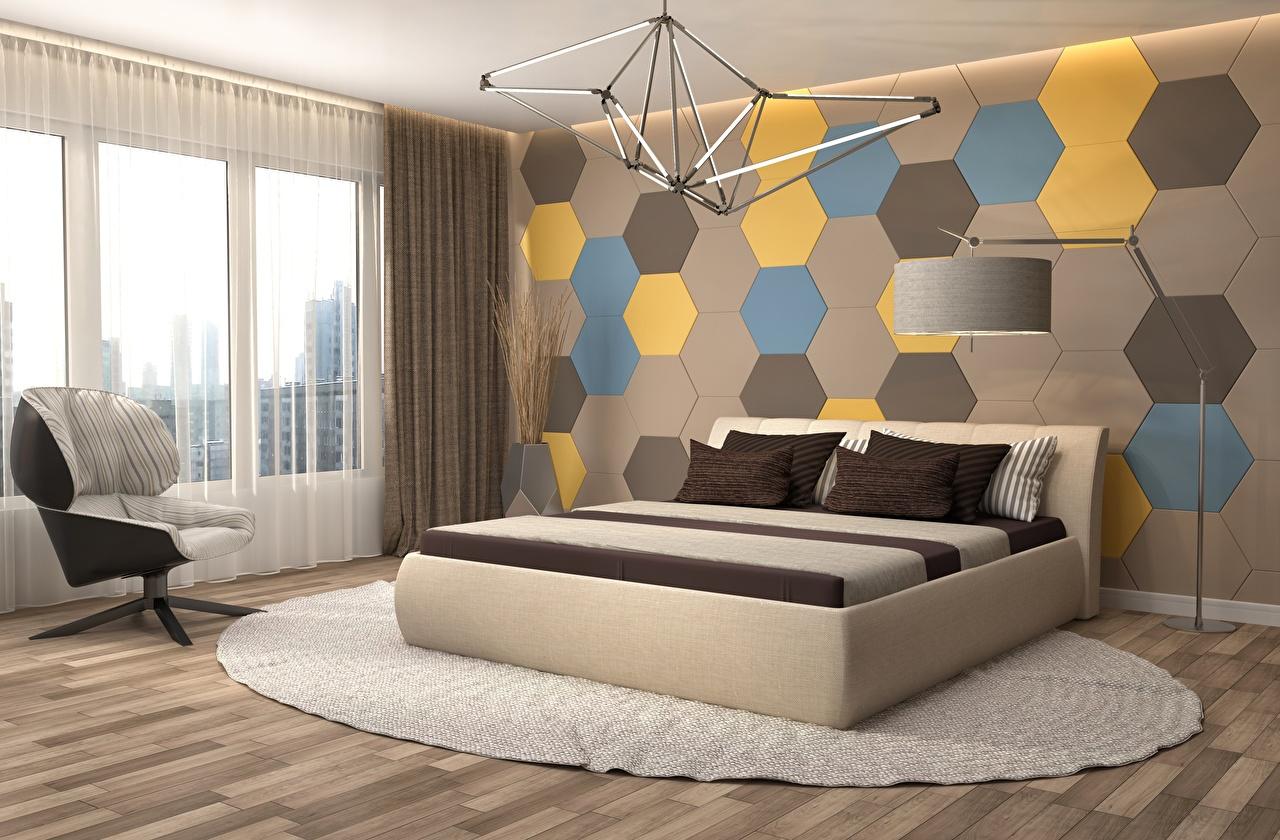 Картинки спальни 3д Интерьер окна Лампа Кресло стенка кровати Дизайн спальне Спальня 3D Графика Окно ламп Стена стены стене лампы Кровать постель дизайна