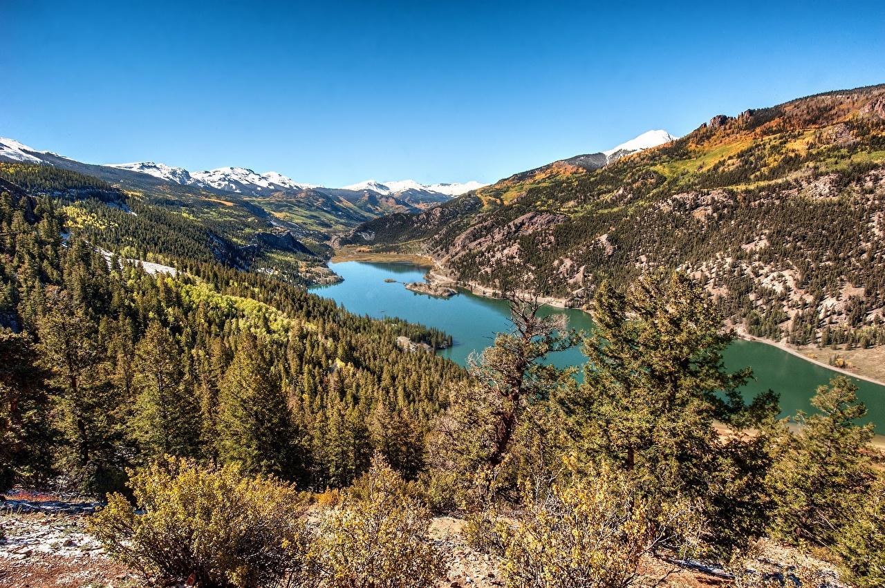Фото США Lake San Cristobal, Hinsdale County, Colorado Горы Природа Озеро дерево штаты гора дерева Деревья деревьев