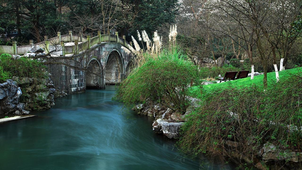 Картинка Китай Bay Park Prince, Hangzhou мост Парки река Города Мосты парк Реки речка город