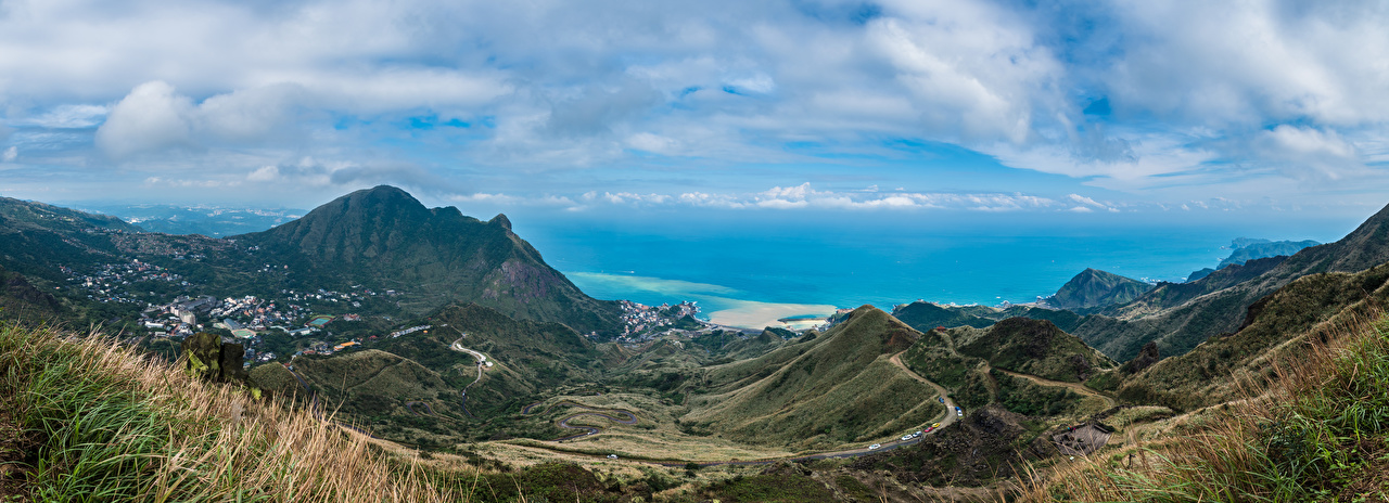 Фотография Тайвань панорамная Keelung Mountain Горы Природа берег облако Панорама гора Побережье Облака облачно