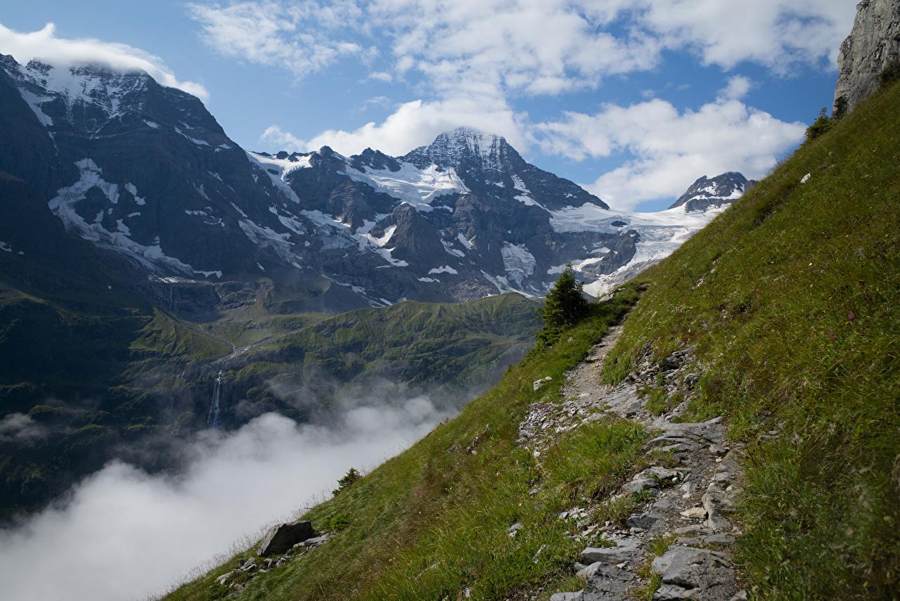 Фотография Альпы Швейцария Lauterbrunnental Горы тропы Природа облачно альп гора Тропа тропинка Облака облако