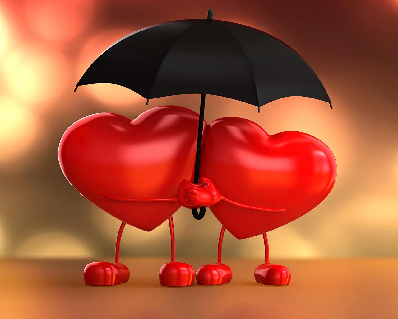 Картинка День святого Валентина Сердце Двое 3D Графика Зонт Праздники