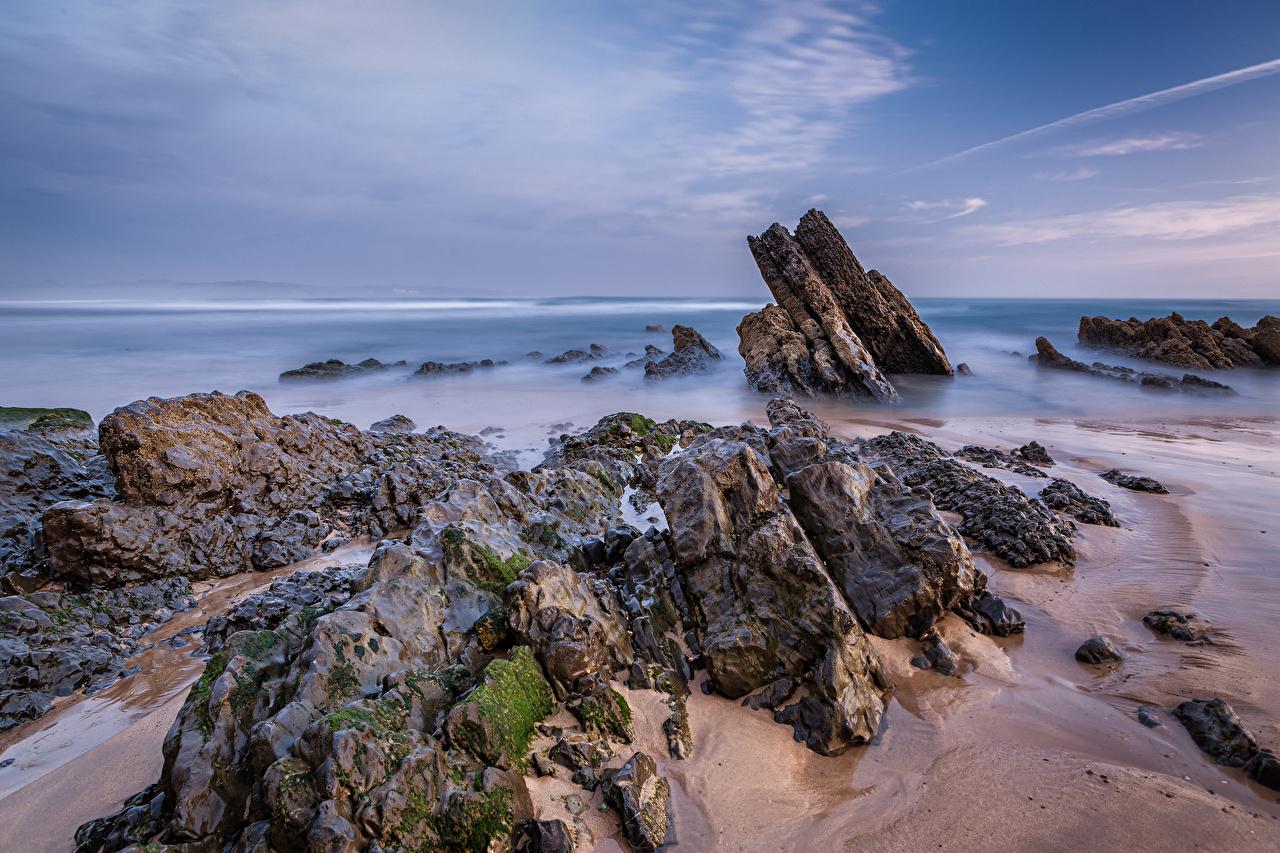 Картинки Испания Asturias, Playa de Vega Скала Природа Небо берег Утес скалы скале Побережье