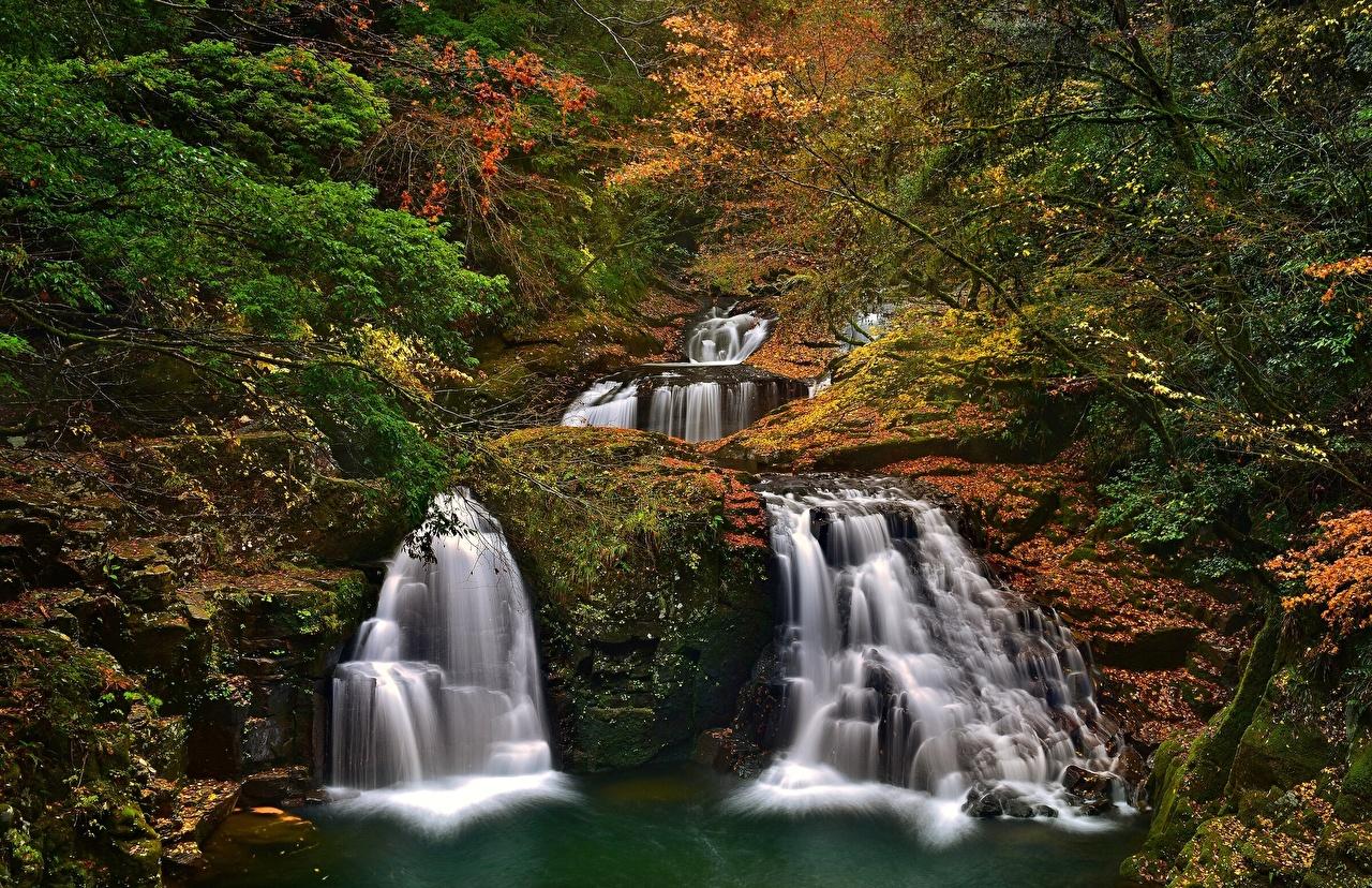 Фотографии Япония Akame 48 Waterfalls Akame Shijuhachi-taki Nabari Mie Prefecture Природа Водопады