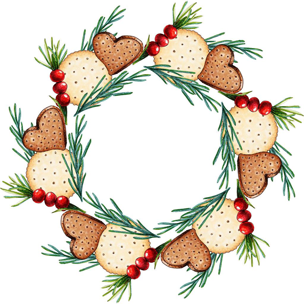 Фотографии Новый год Ягоды Печенье на ветке Шаблон поздравительной открытки Рождество ветвь ветка Ветки