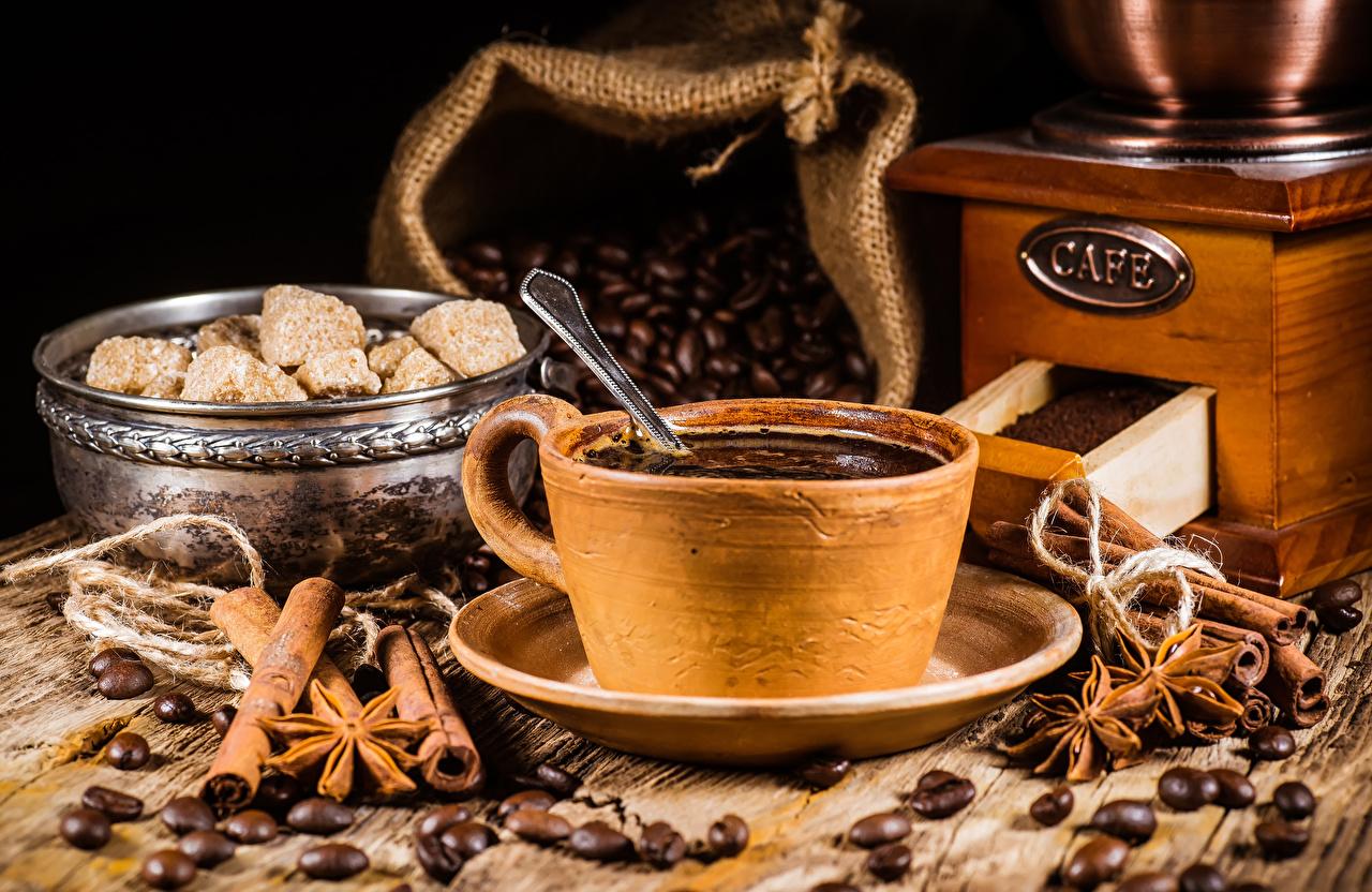 Фотографии Кофе зерно Корица Пища чашке Зерна Еда Чашка Продукты питания