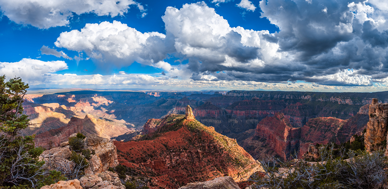 Картинка Гранд-Каньон парк америка Панорама Arizona каньоны Природа парк Пейзаж облачно США штаты панорамная Каньон каньона Парки Облака облако