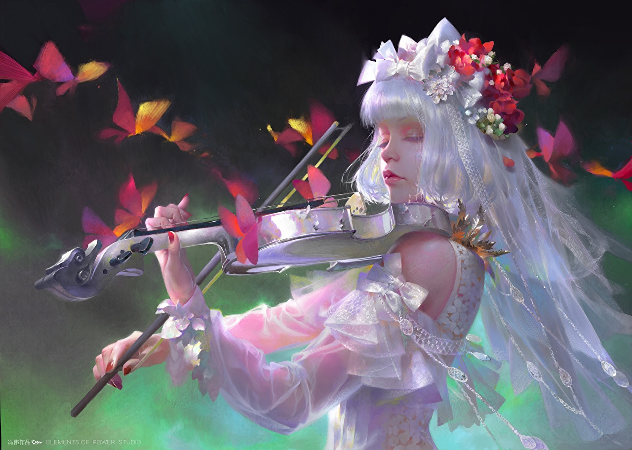 Картинки Скрипки Девушки Фантастика Руки платья скрипка Фэнтези девушка молодая женщина молодые женщины рука Платье