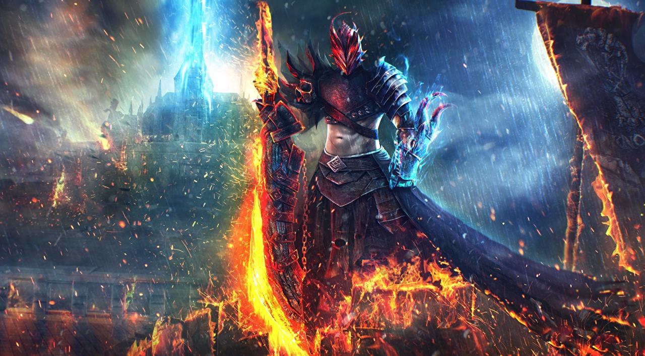 Картинки Guild Wars 2 Мечи доспехах Воители art Dragonhunter Фэнтези Игры Огонь меч меча броня броне с мечом доспехе Доспехи воины Фантастика Пламя