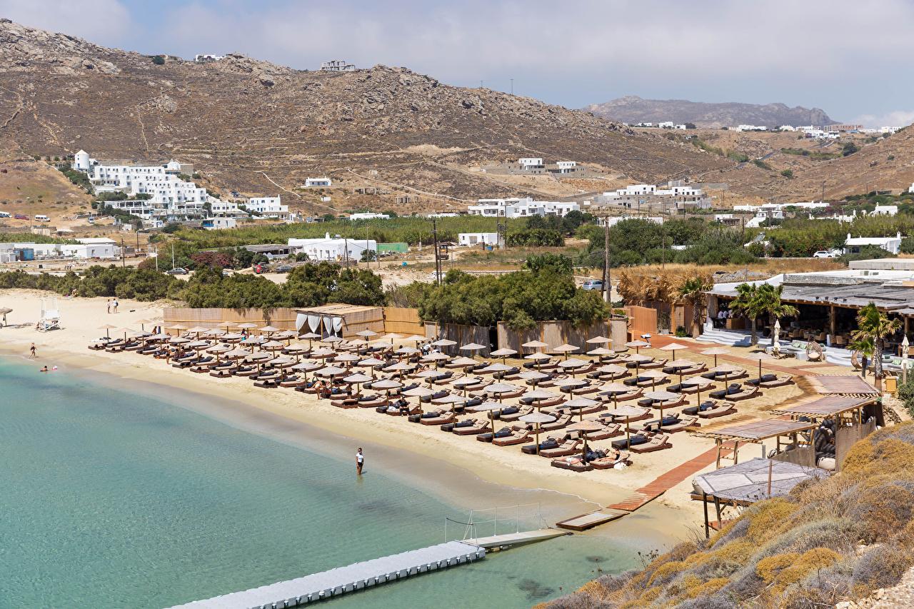 Картинка Греция Курорты Kalo Livadi, Mykonos Пляж Природа берег пляжа пляже пляжи Побережье