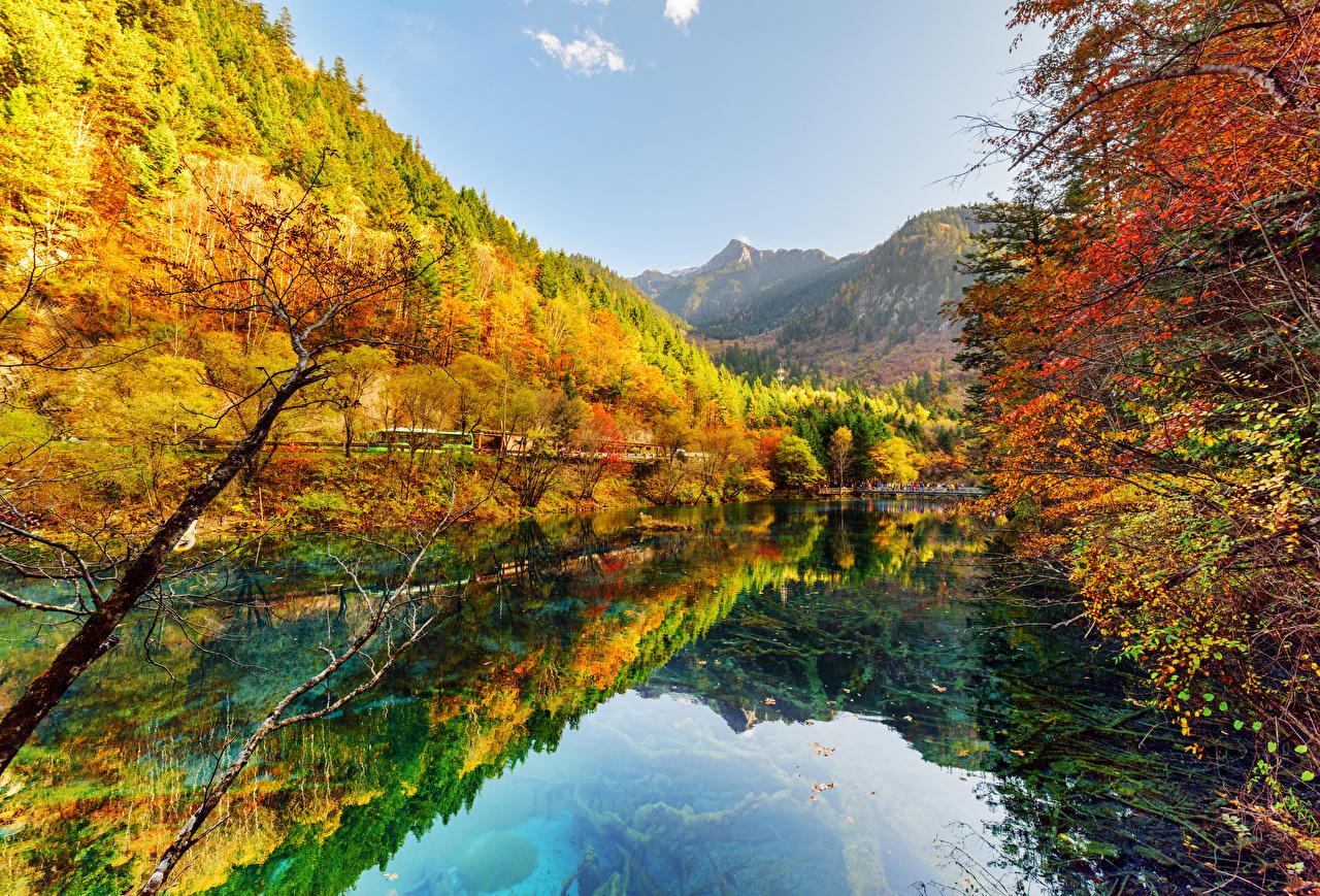 Картинки Цзючжайгоу парк Китай Осень Природа Леса Озеро Парки осенние лес парк