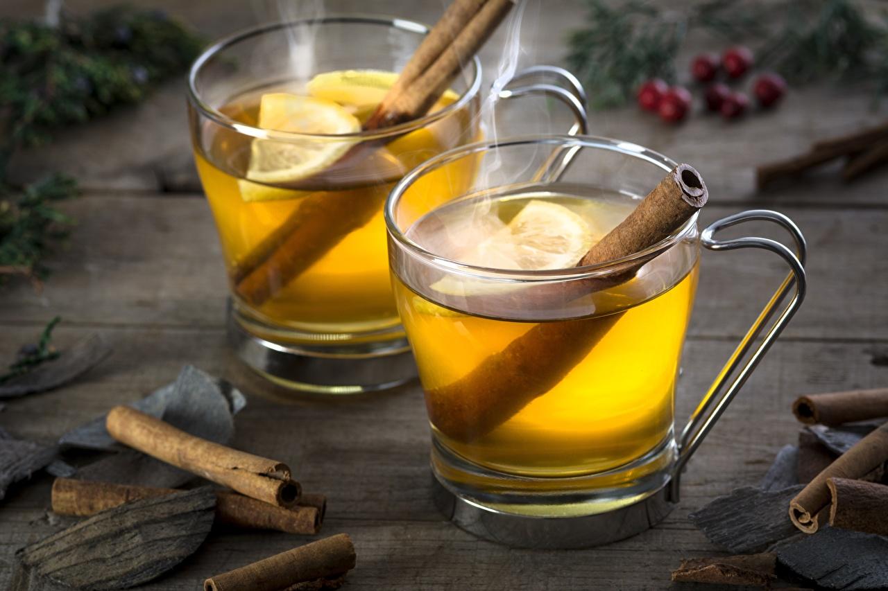 Обои для рабочего стола Чай Лимоны Корица Еда Кружка Пища кружки кружке Продукты питания