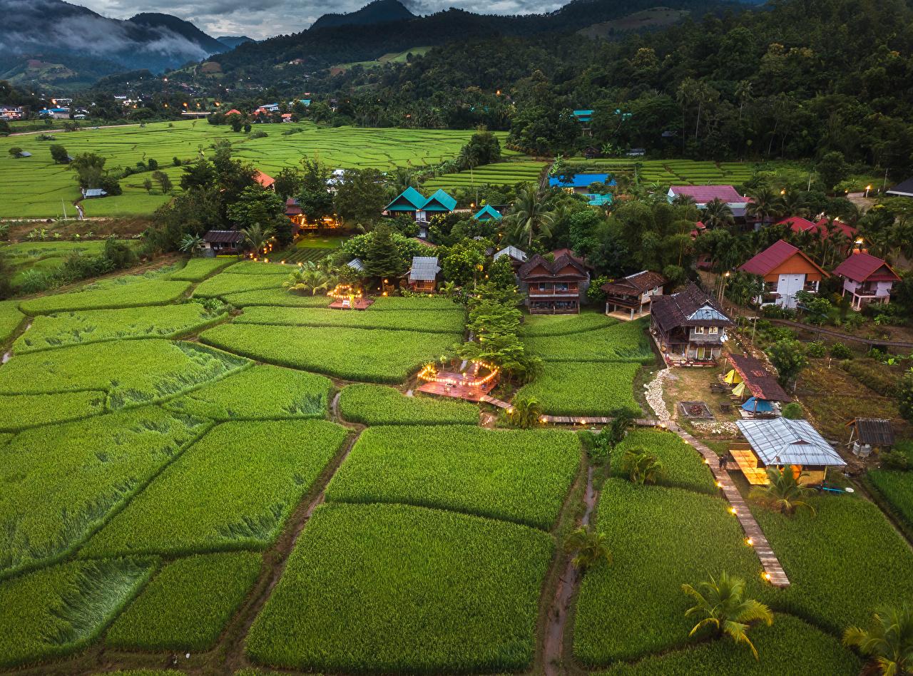 Картинка Таиланд село Mae La Noi Поля Дома Города поселок Деревня город Здания