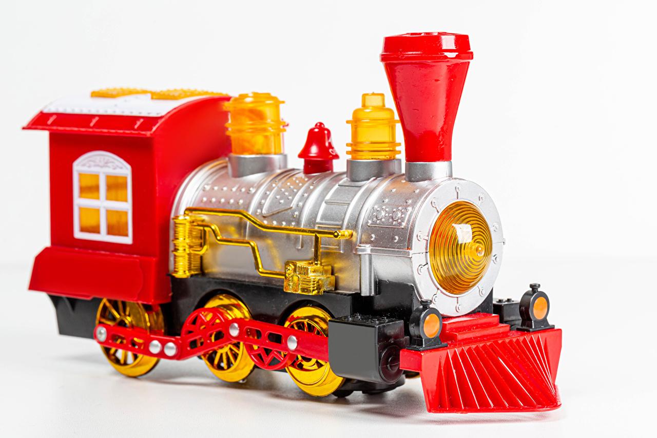 Картинки белом фоне Поезда вблизи игрушка Белый фон белым фоном Игрушки Крупным планом