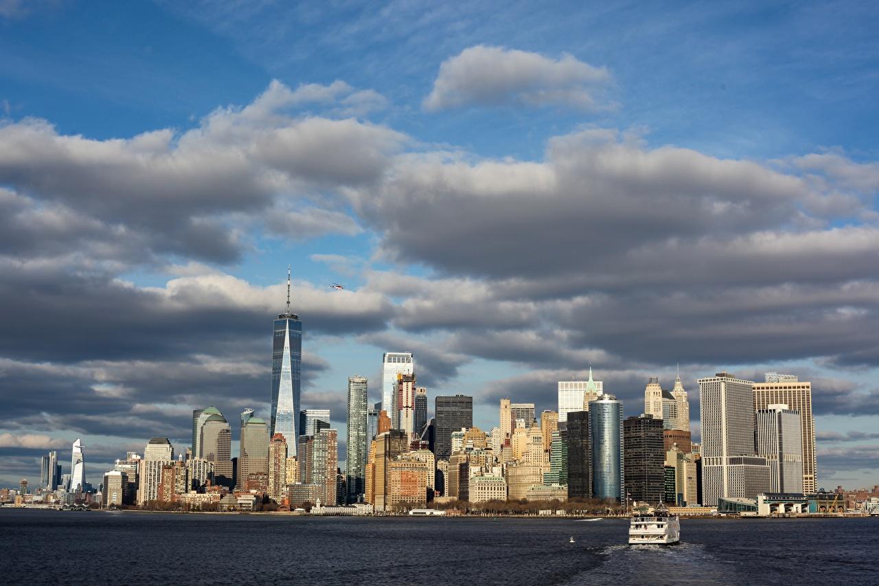 Фотографии Нью-Йорк Манхэттен США мегаполиса залива Катера Небоскребы Города штаты америка Мегаполис Залив заливы город