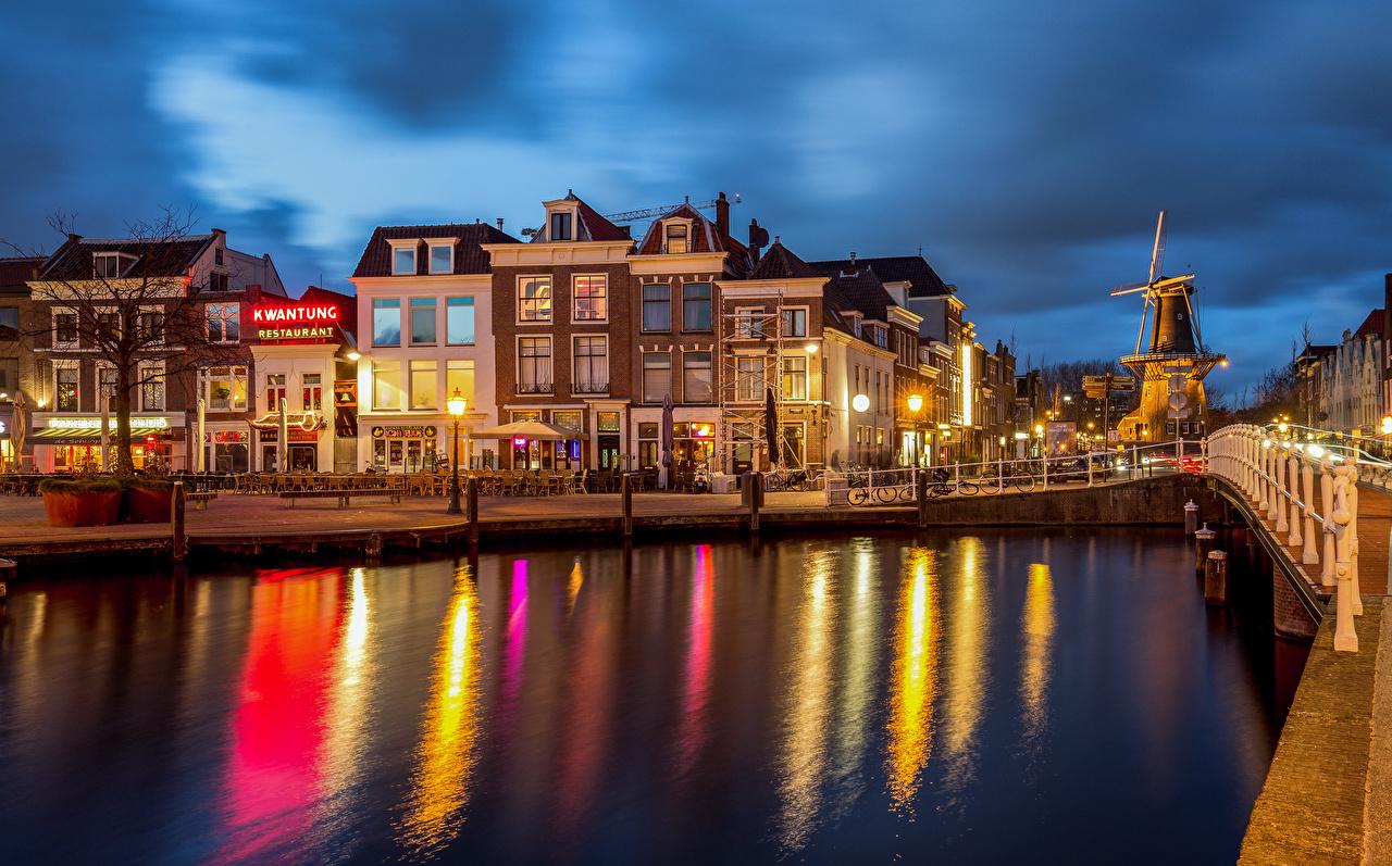 Картинки Нидерланды Leiden Водный канал Набережная Здания Города голландия набережной Дома город
