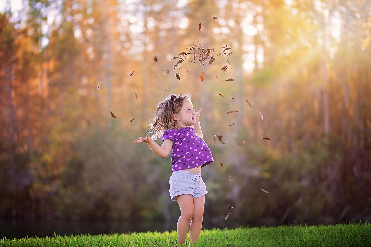 Осень Девочки, Листья, Радость, Ребёнок, осенние, Листва, счастье, счастливые Дети