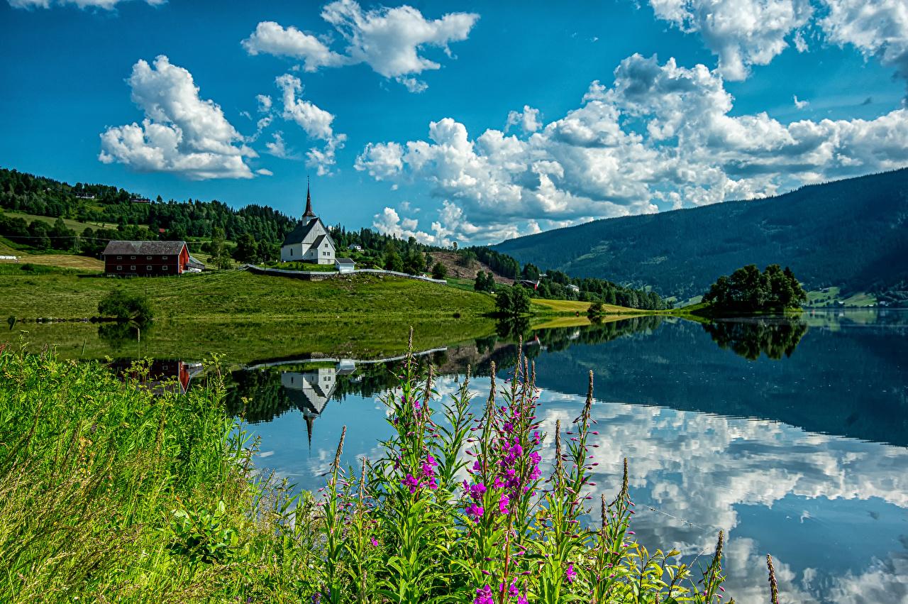 Обои для рабочего стола Церковь Норвегия Ulnes Горы Природа Облака гора облако облачно