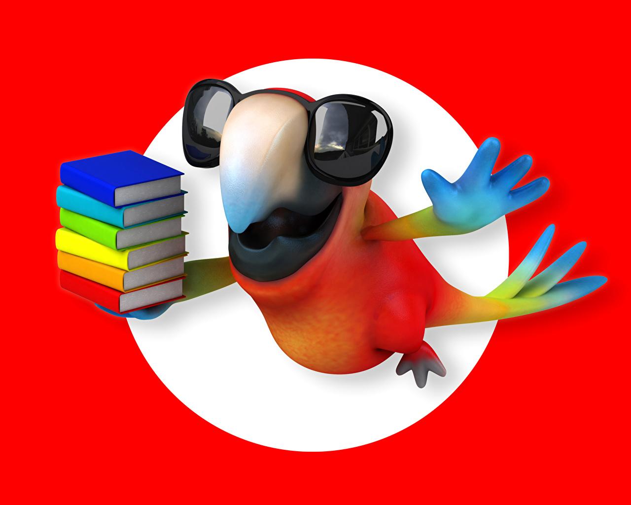 Картинка Попугаи Клюв 3D Графика Лапы очках книги 3д лап Очки очков Книга