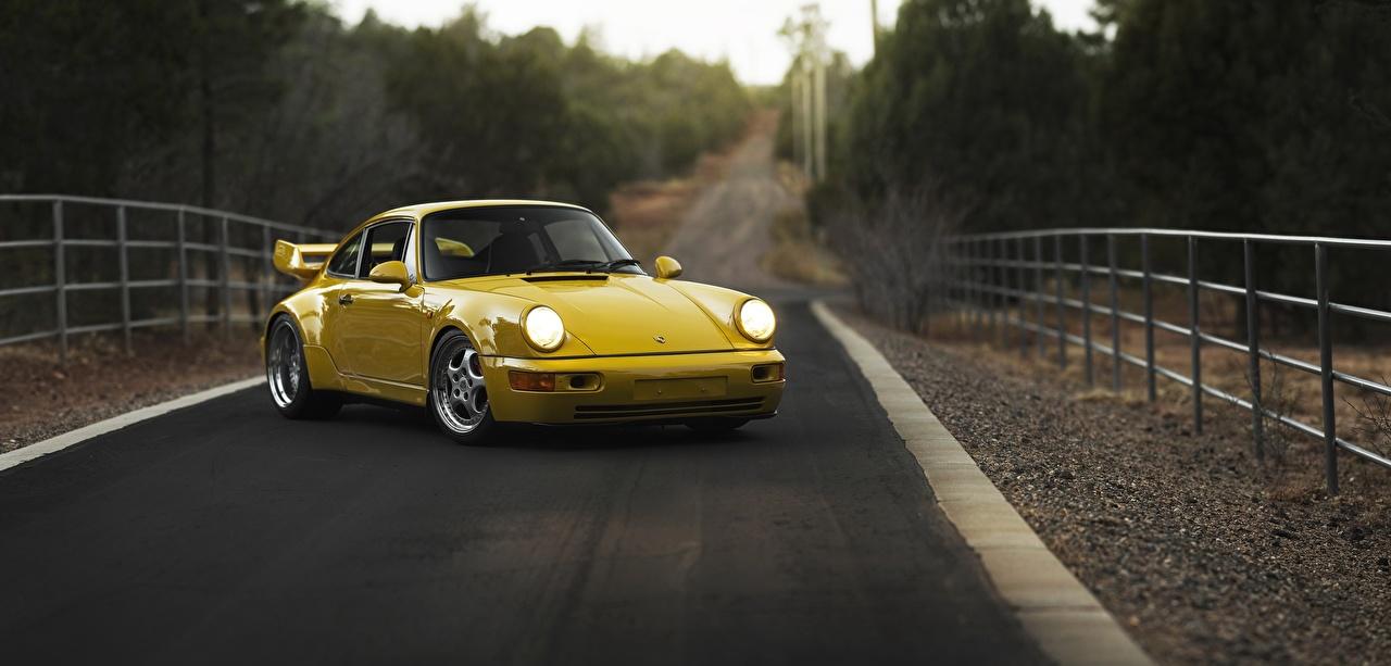 Фото Porsche 911, Carrera RS 3.8 Купе желтых Дороги Металлик Автомобили Порше желтая желтые Желтый авто машины машина автомобиль