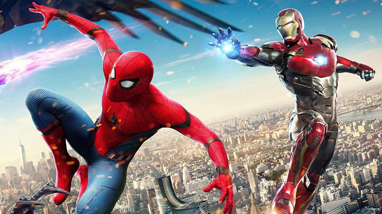 Картинки Железный человек Человек-паук: Возвращение домой Герои комиксов Человек паук герой Кино Фильмы