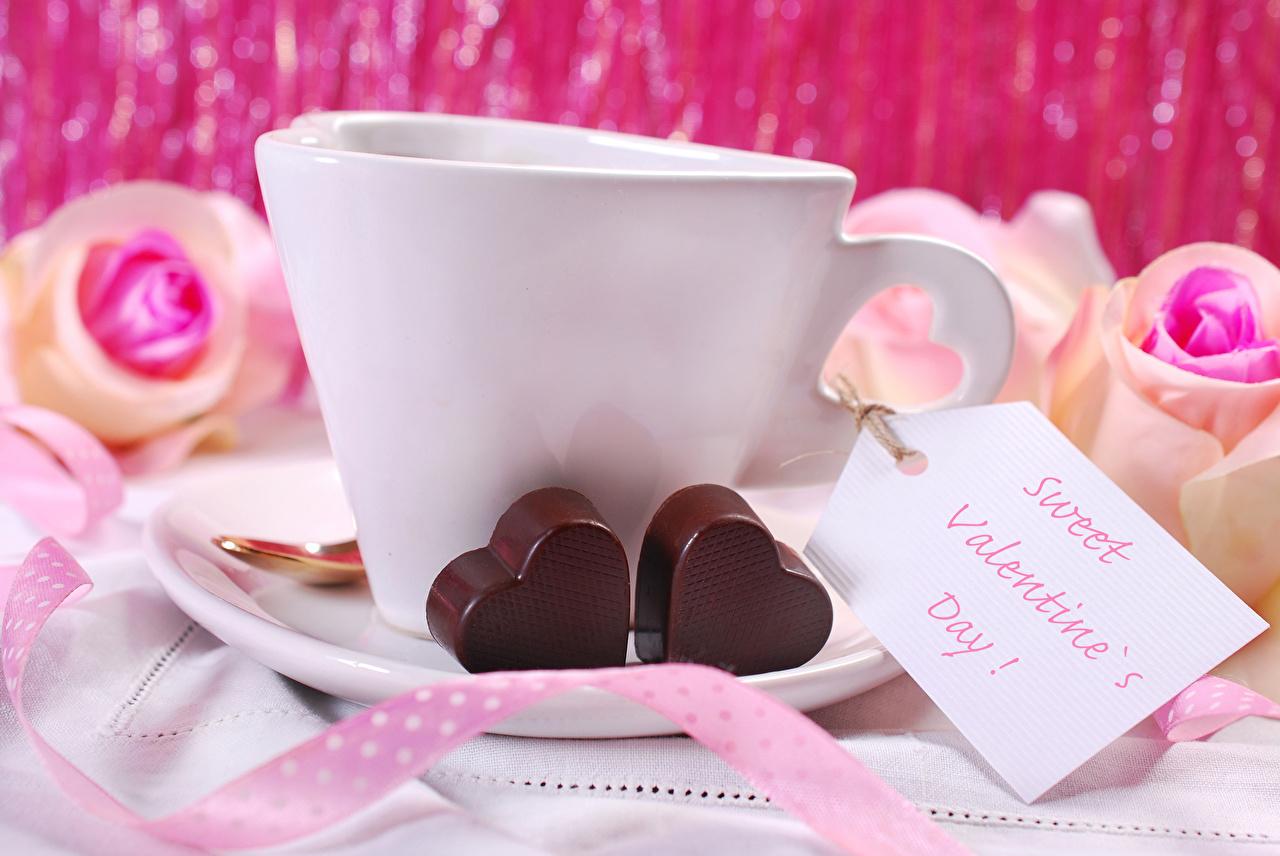 Фотография День всех влюблённых Английский сердца Шоколад Еда чашке День святого Валентина инглийские английская серце Сердце сердечко Пища Чашка Продукты питания