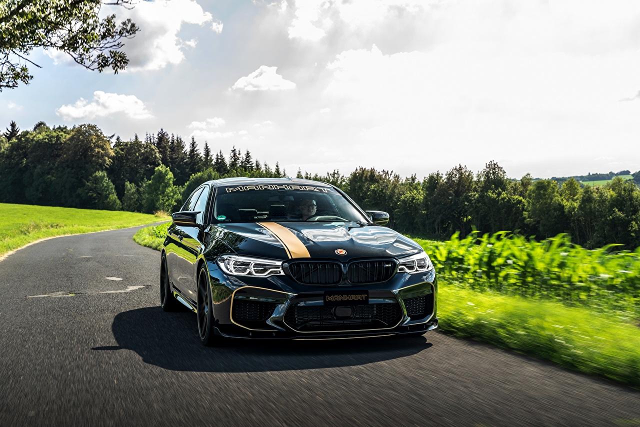 Картинка BMW 2018 Biturbo Manhart M5 V8 F90 723 MH5 черных авто БМВ Черный черные черная машина машины автомобиль Автомобили