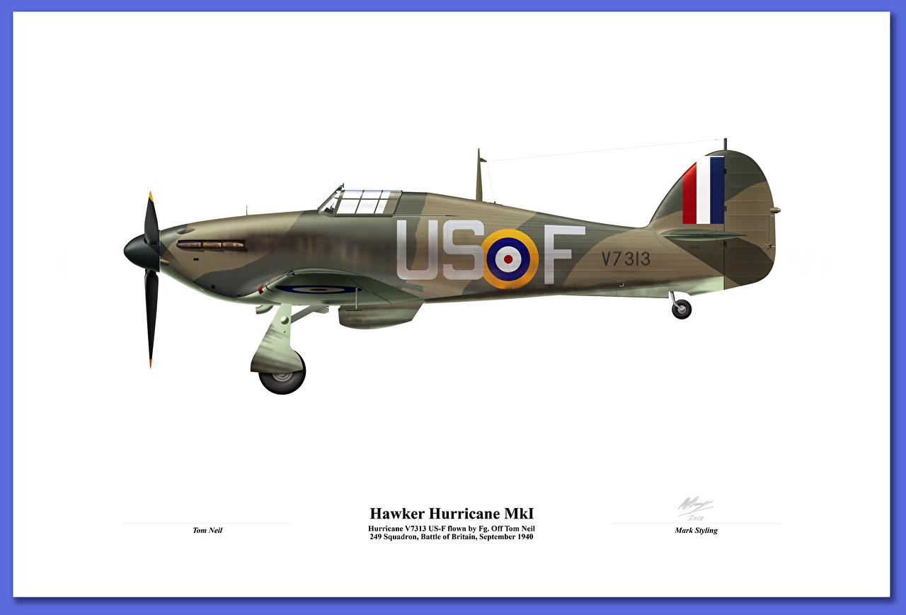 Фото Истребители Самолеты Британский Hawker Hurricane MkI Белый фон Авиация