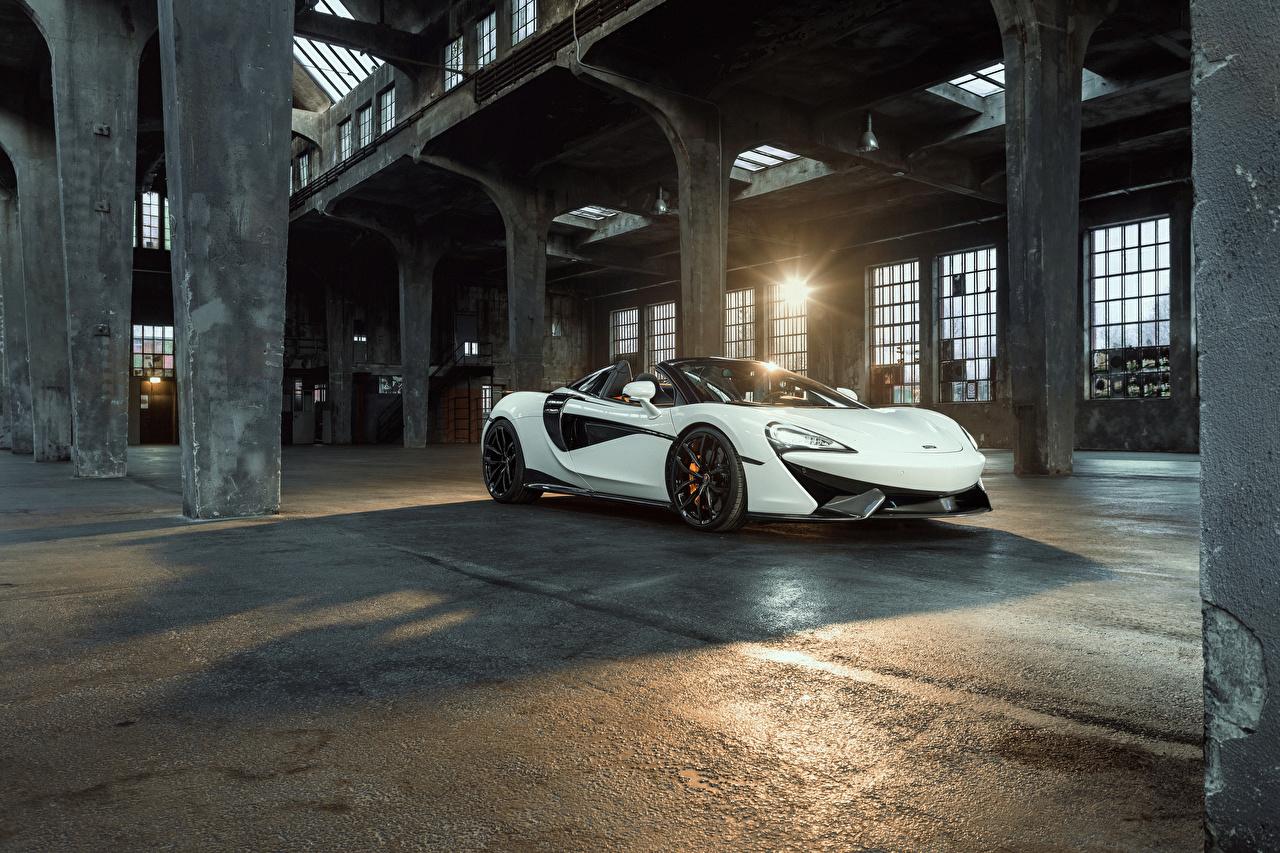 Картинка McLaren 2018 Novitec 570S Spider белые машины Металлик Макларен белых Белый белая авто машина автомобиль Автомобили