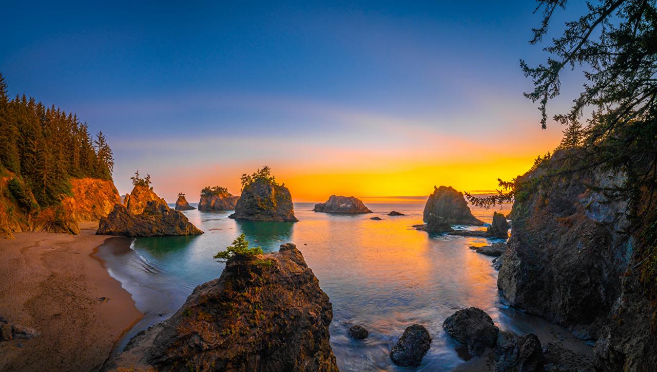 Фотографии америка Oregon скале Природа рассвет и закат берег США штаты Утес Скала скалы Рассветы и закаты Побережье