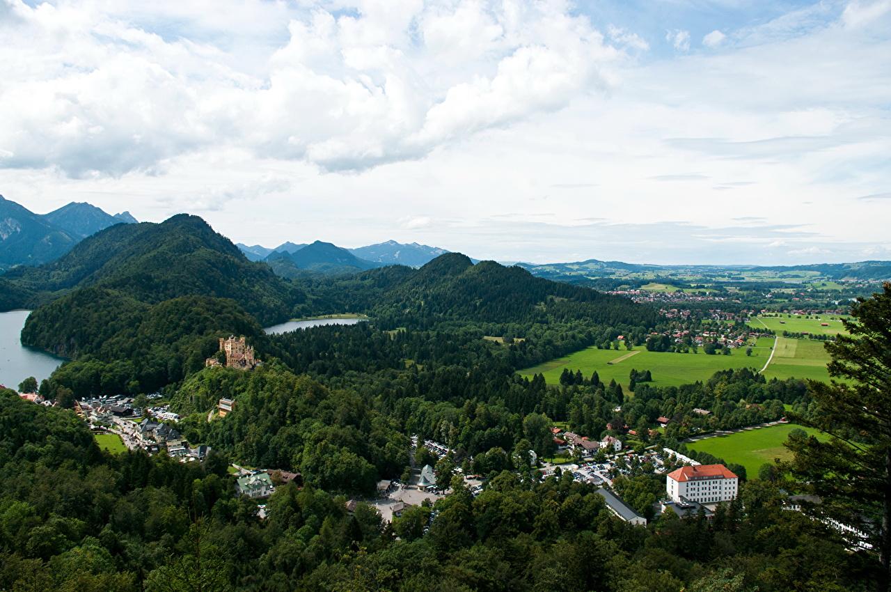 Фото Бавария Германия Fussen Горы Пейзаж Города гора город