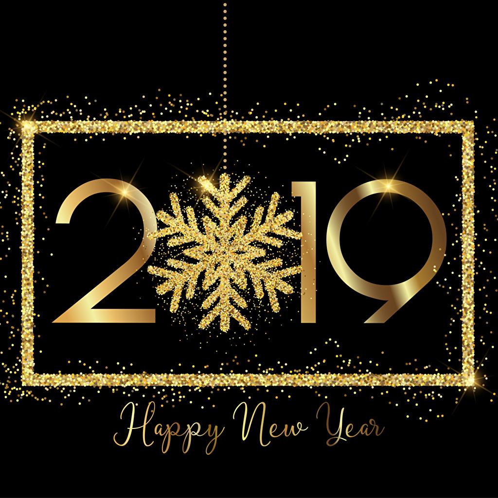 Фото 2019 Новый год английская золотые Снежинки Черный фон Рождество инглийские Английский золотых золотая Золотой снежинка на черном фоне